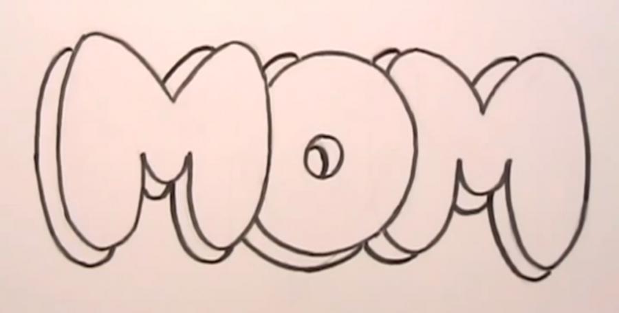 Рисуем слово MOM на бумаге карандашами - шаг 4