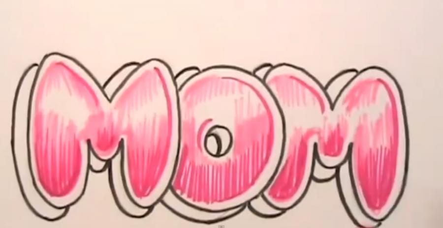 Рисуем слово MOM на бумаге карандашами - шаг 5