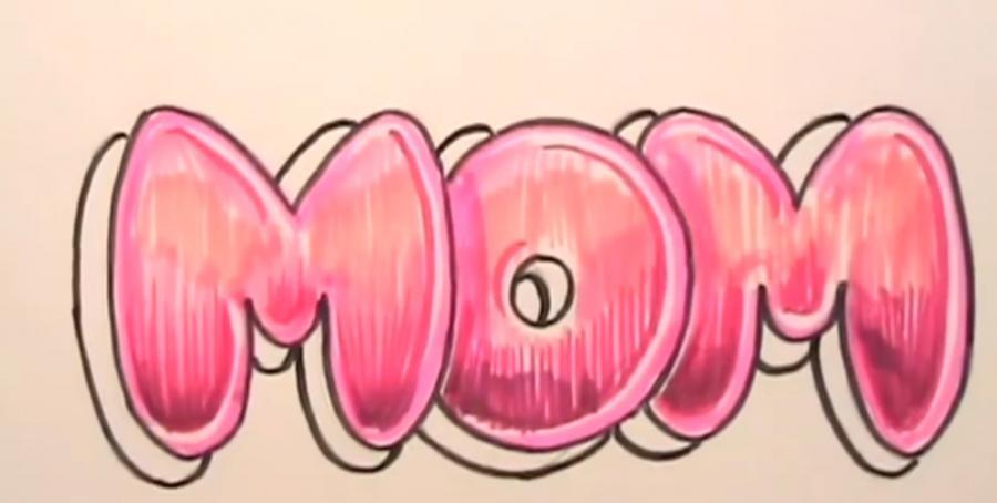 Рисуем слово MOM на бумаге карандашами - шаг 6