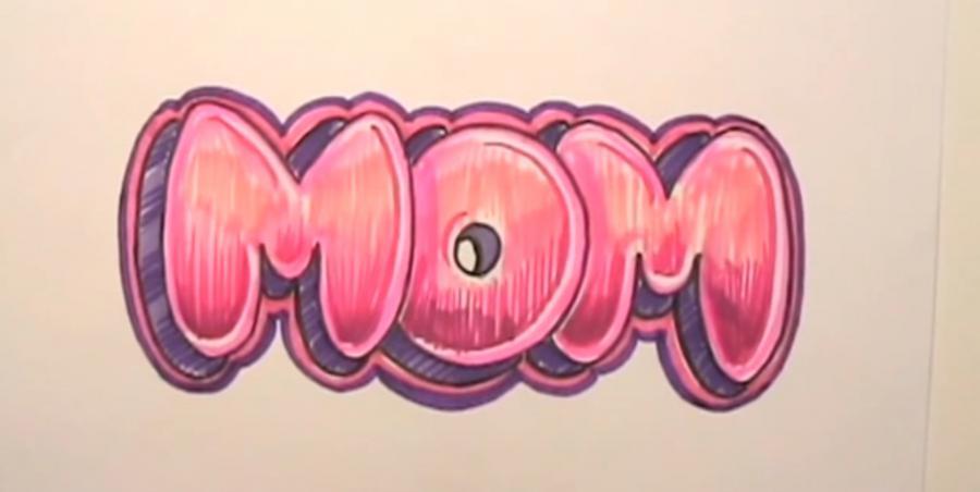Рисуем слово MOM на бумаге карандашами - шаг 8