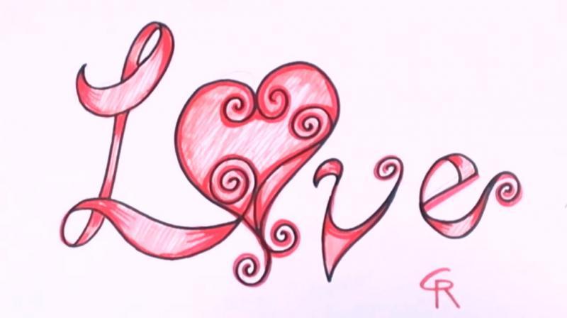 Как красиво нарисовать слово love - шаг 9