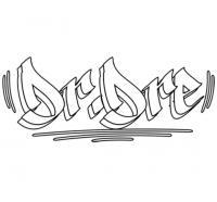 имя dr. dre на бумаге карандашом