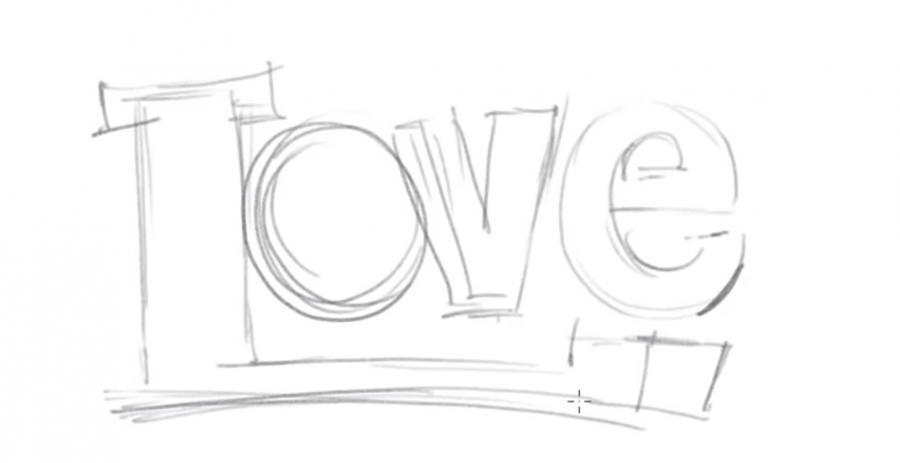 Как просто нарисовать love - шаг 1