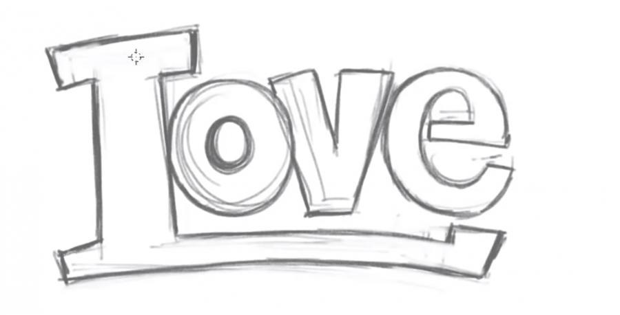 Как просто нарисовать love - шаг 2