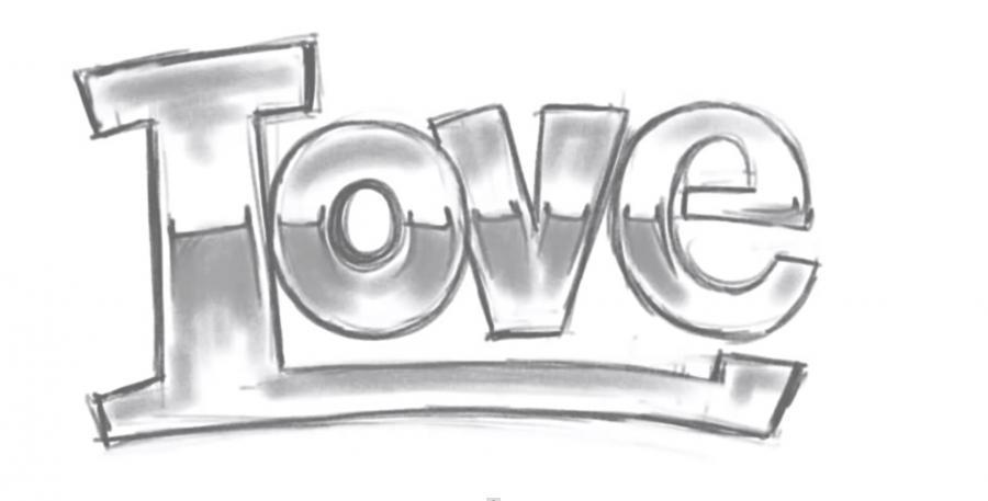 Как просто нарисовать love - шаг 3