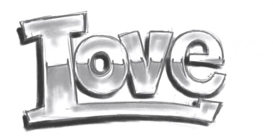 Как просто нарисовать love - шаг 4