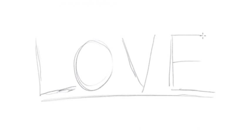 Рисуем надпись Love - шаг 1