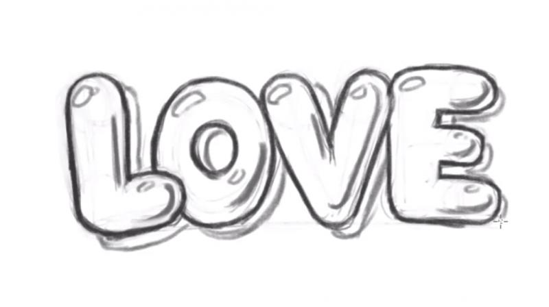 Рисуем надпись Love - шаг 11