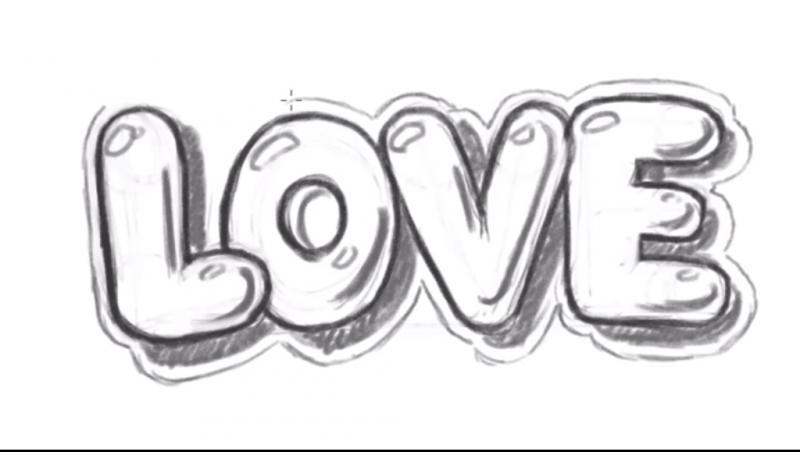 Рисуем надпись Love - шаг 12