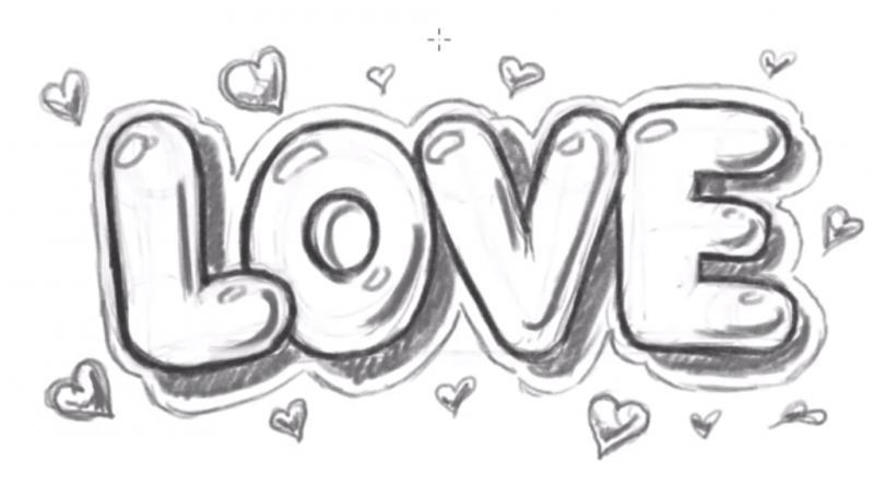 Рисуем надпись Love - шаг 13