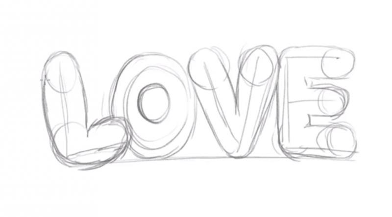 Рисуем надпись Love - шаг 5