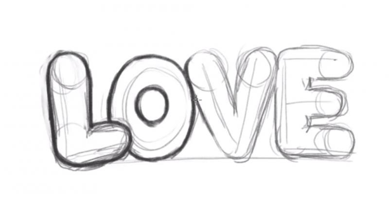Рисуем надпись Love - шаг 7