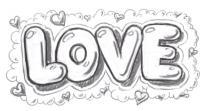 Фото слово Love карандашом