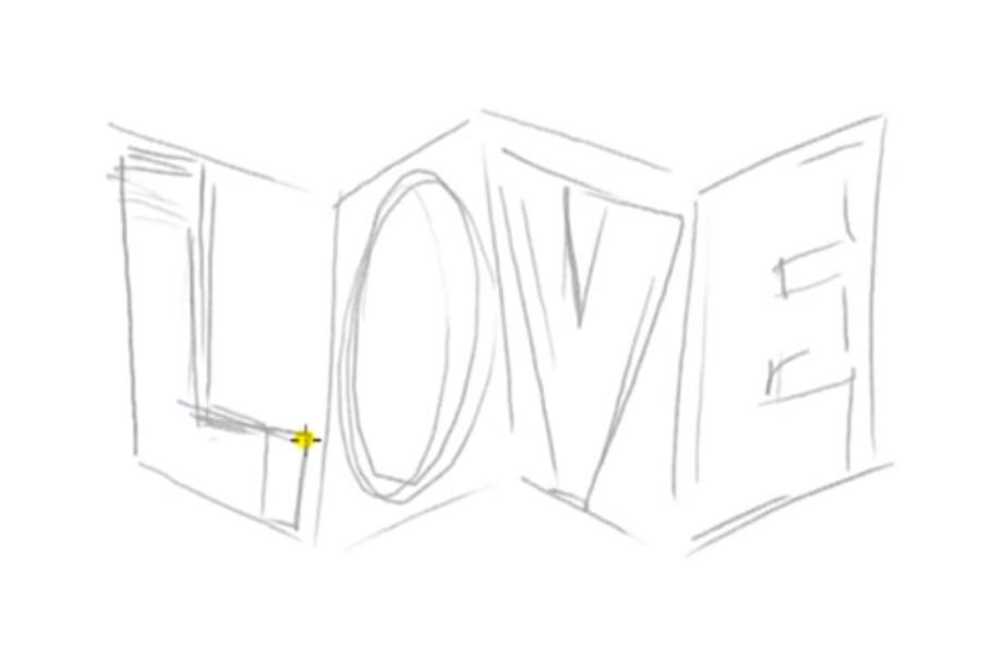 Рисуем слово Love в 3д - шаг 3
