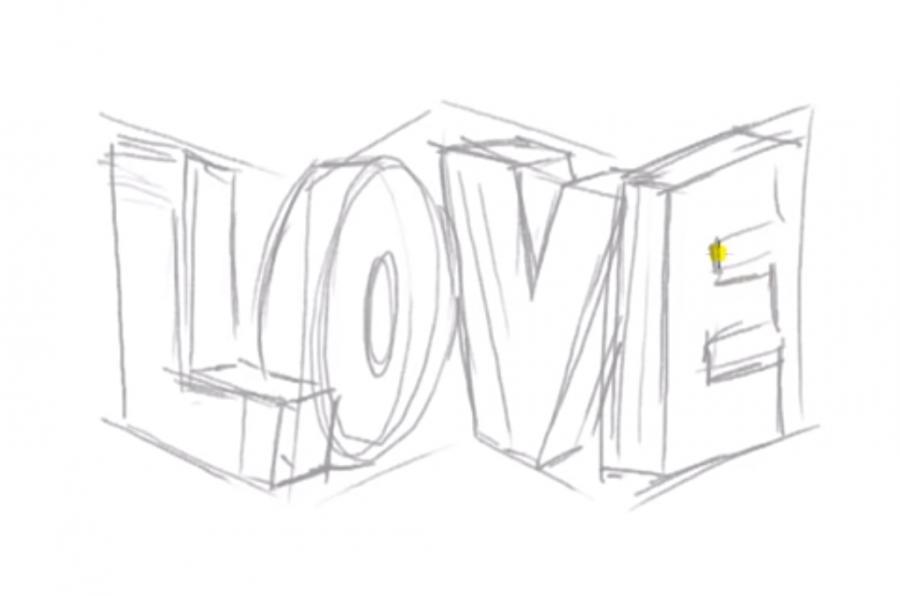 Рисуем слово Love в 3д - шаг 4