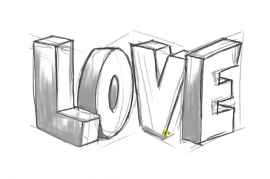 Рисуем слово Love в 3д - шаг 7