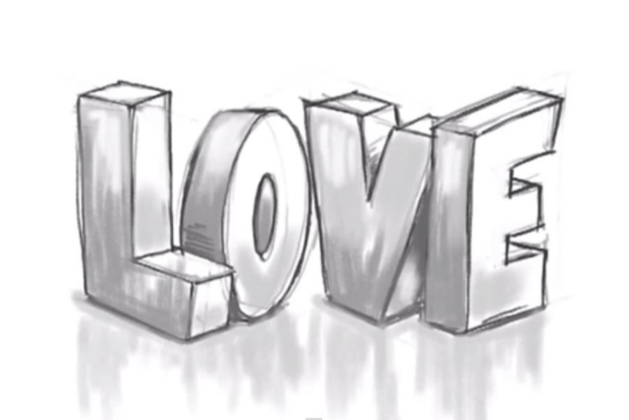 Рисуем слово Love в 3д - шаг 9