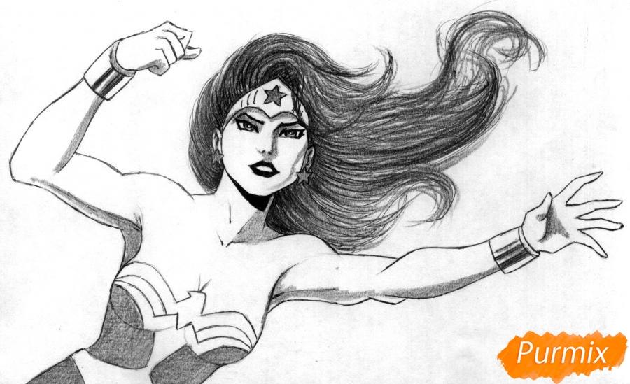 Рисуем Чудо-женщину - шаг 3