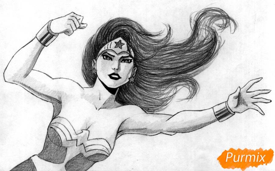 Рисуем Чудо-женщину - шаг 4