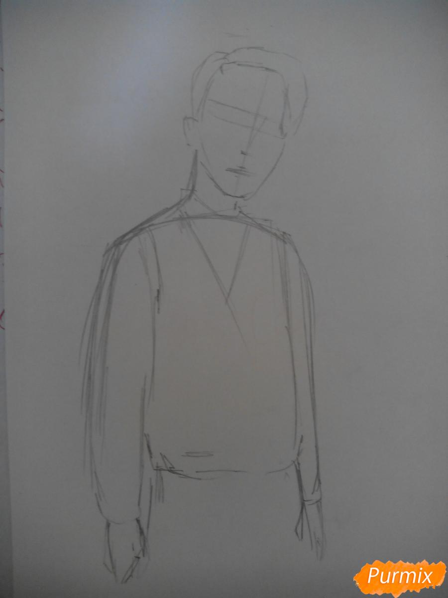 Рисуем Драко Малфоя из вселенной Гарри Поттера карандашами - шаг 1