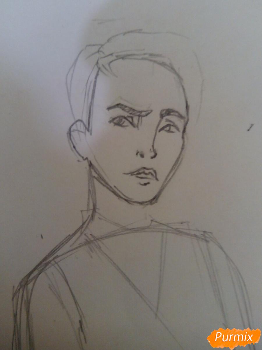 Рисуем Драко Малфоя из вселенной Гарри Поттера карандашами - шаг 2