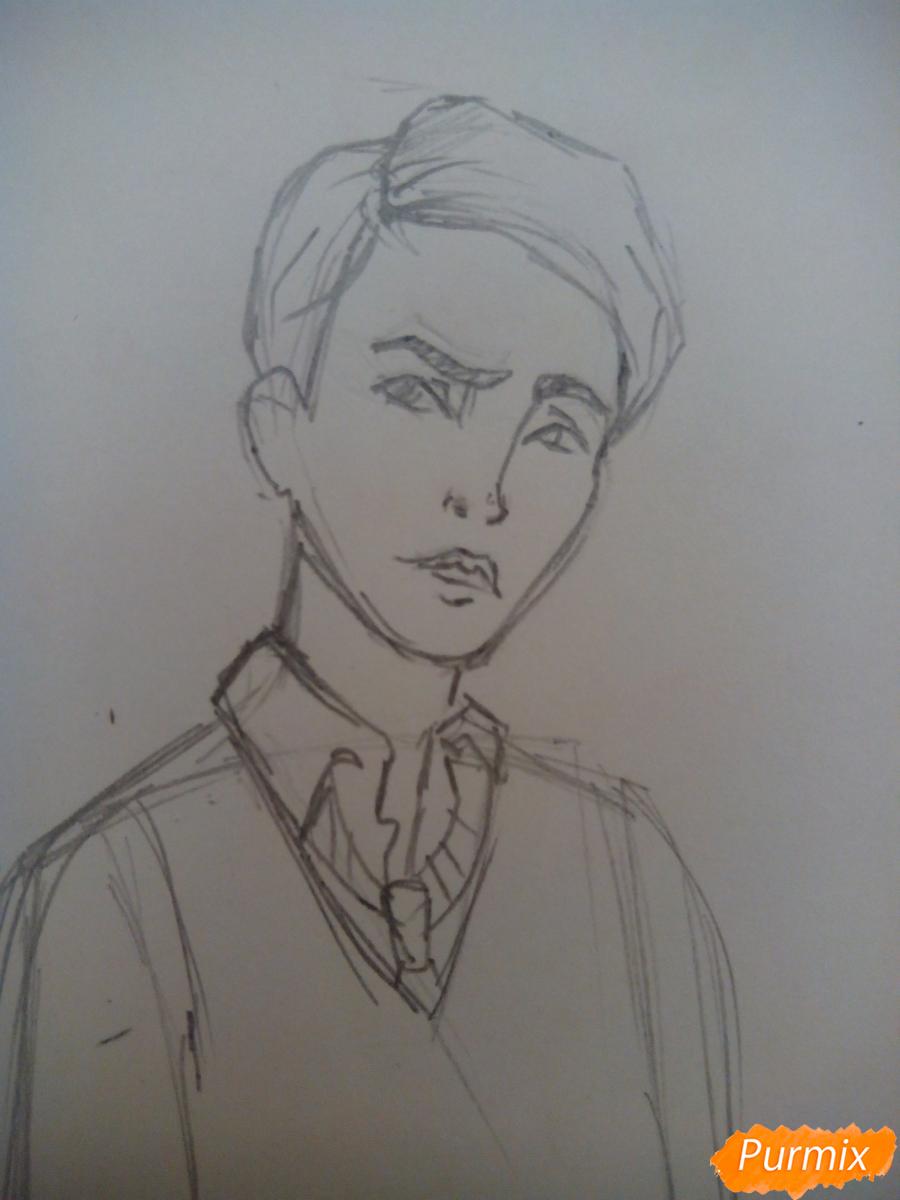 Рисуем Драко Малфоя из вселенной Гарри Поттера карандашами - шаг 3