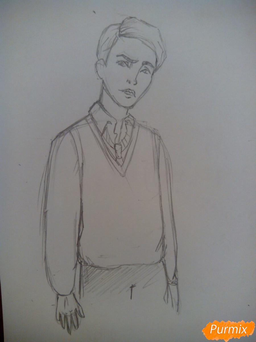 Рисуем Драко Малфоя из вселенной Гарри Поттера карандашами - шаг 4