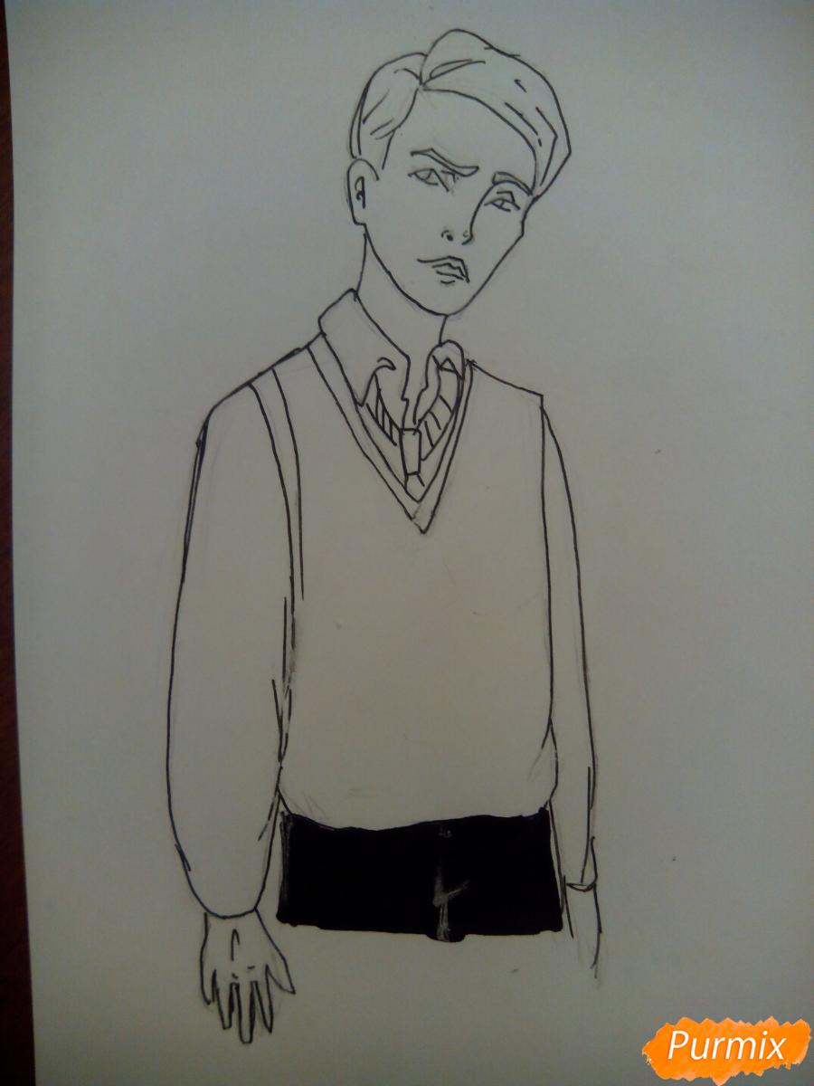 Рисуем Драко Малфоя из вселенной Гарри Поттера карандашами - шаг 5