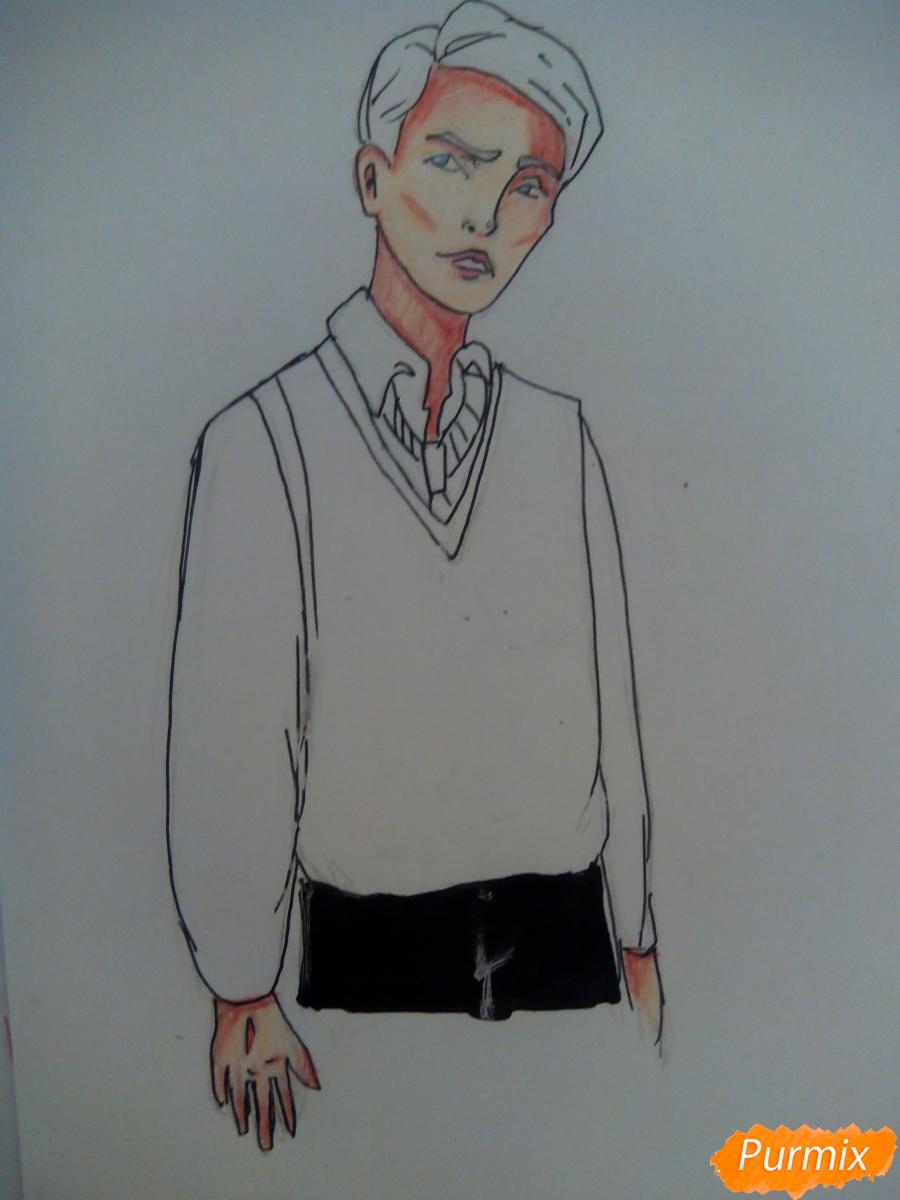 Рисуем Драко Малфоя из вселенной Гарри Поттера карандашами - шаг 6