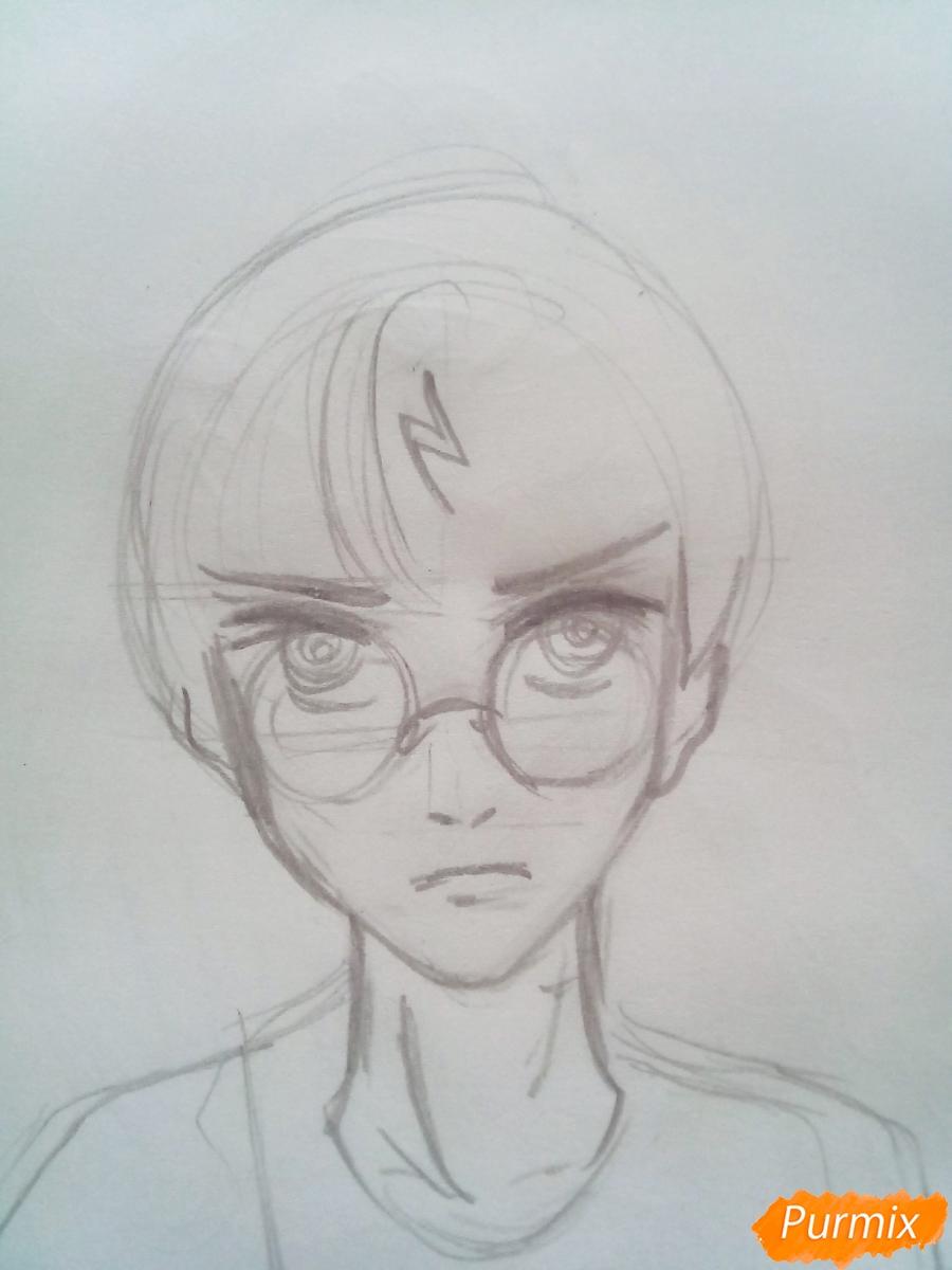 Рисуем Гарри Поттера в аниме стиле - шаг 2
