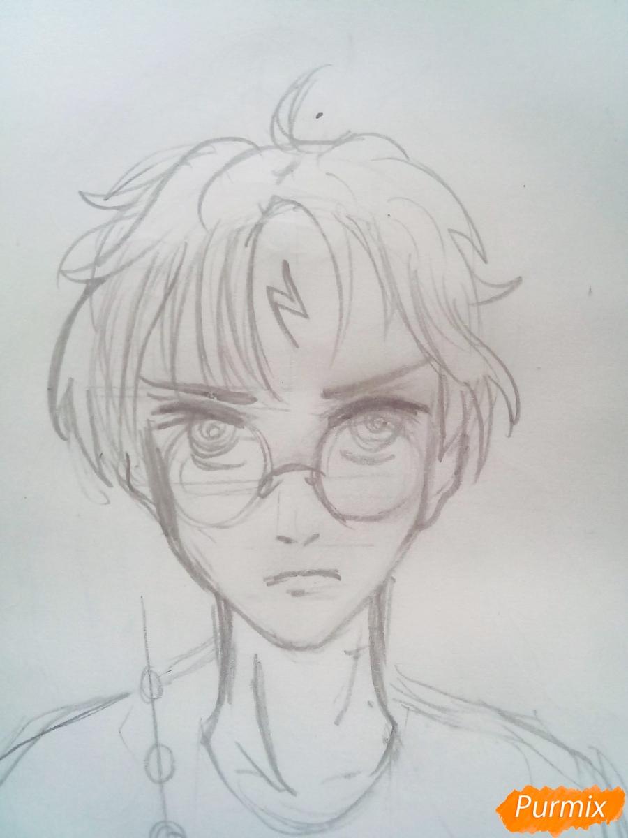 Рисуем Гарри Поттера в аниме стиле - шаг 3