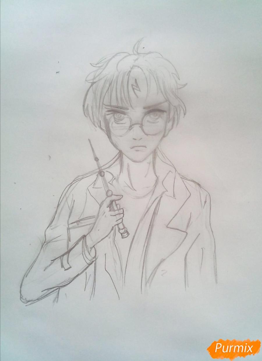 Рисуем Гарри Поттера в аниме стиле - шаг 4