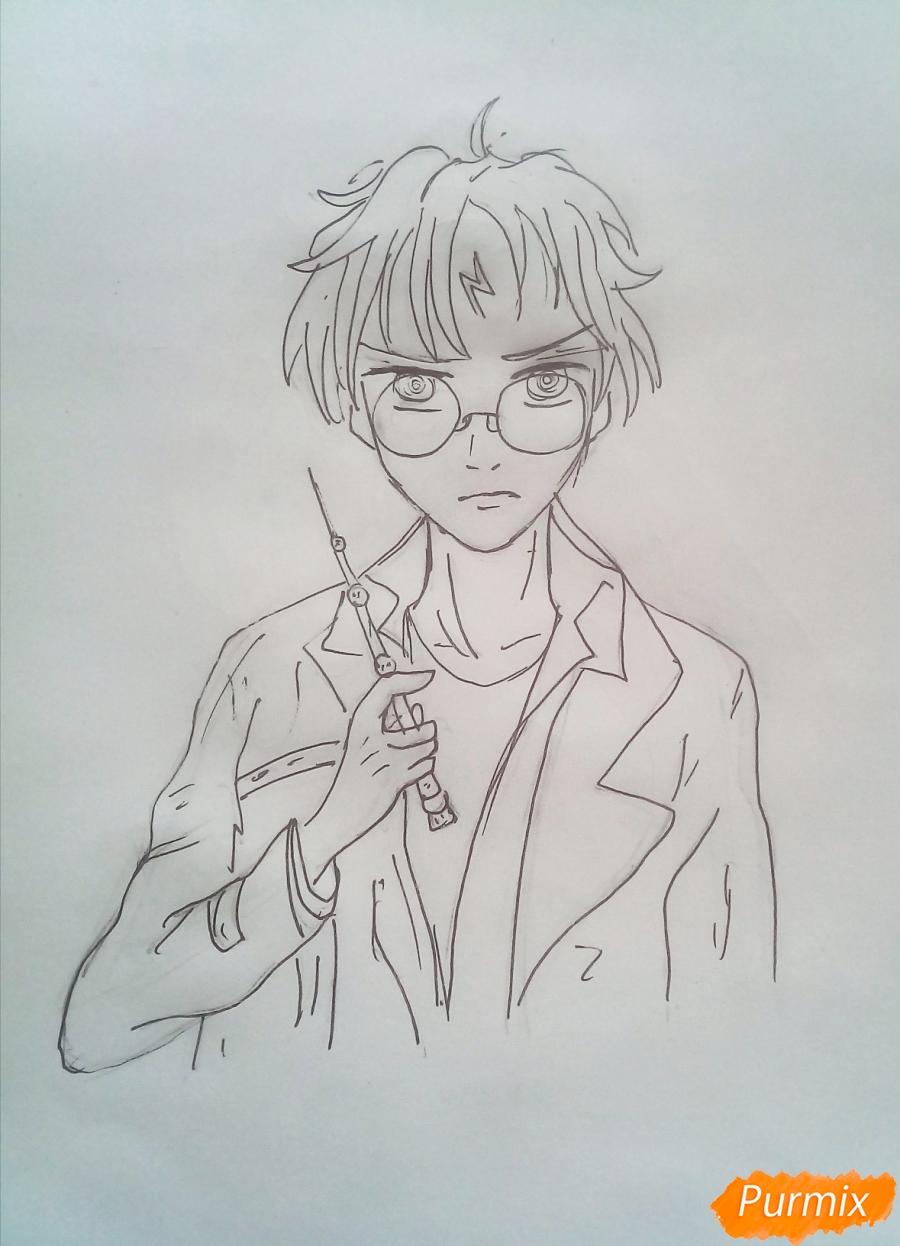 Рисуем Гарри Поттера в аниме стиле - шаг 5