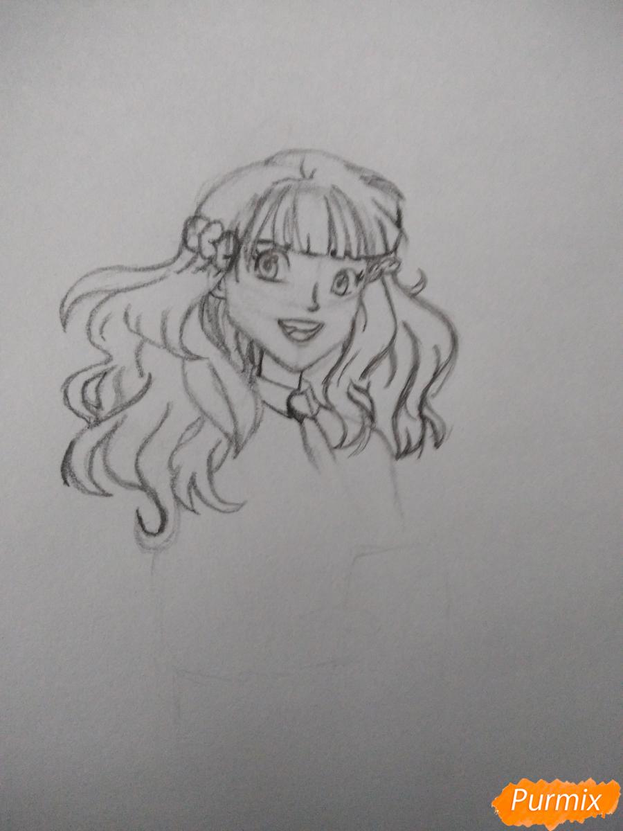 Рисуем Гермиону с книгой в аниме стиле - шаг 7