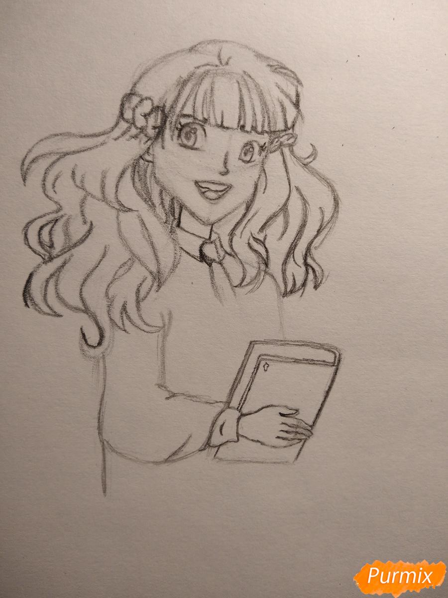 Рисуем Гермиону с книгой в аниме стиле - шаг 8