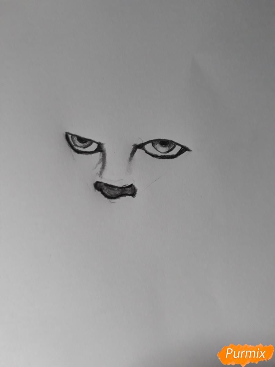 Рисуем Пенивайза из фильма Оно карандашами - шаг 1