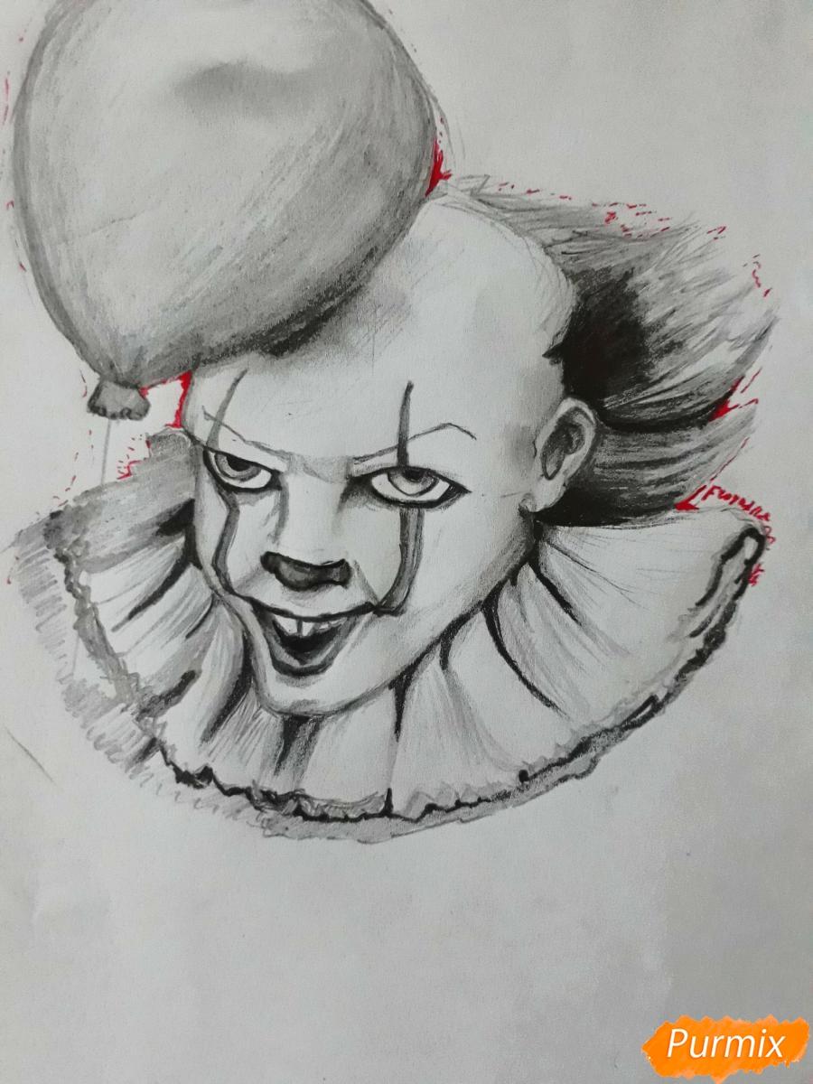 Рисуем Пенивайза из фильма Оно карандашами - шаг 9