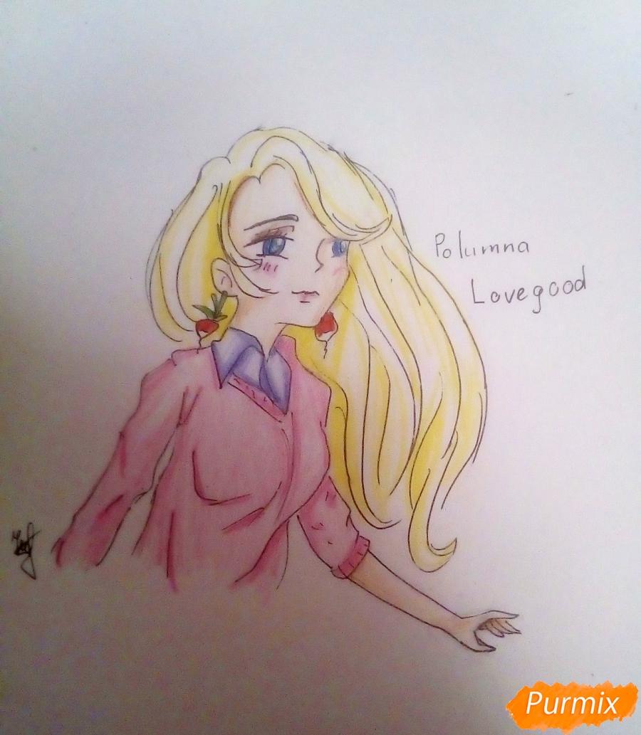 Рисуем Полумну Лавгуд из Гарри Поттера цветными карандашами - шаг 10