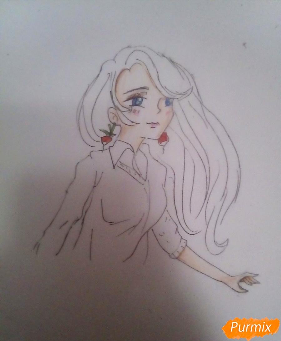 Рисуем Полумну Лавгуд из Гарри Поттера цветными карандашами - шаг 7