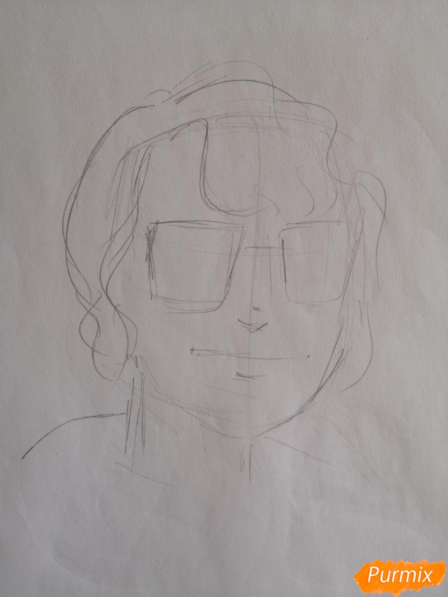 Рисуем Ричарда (Ричи) Тозиера из фильма Оно карандашами - шаг 1