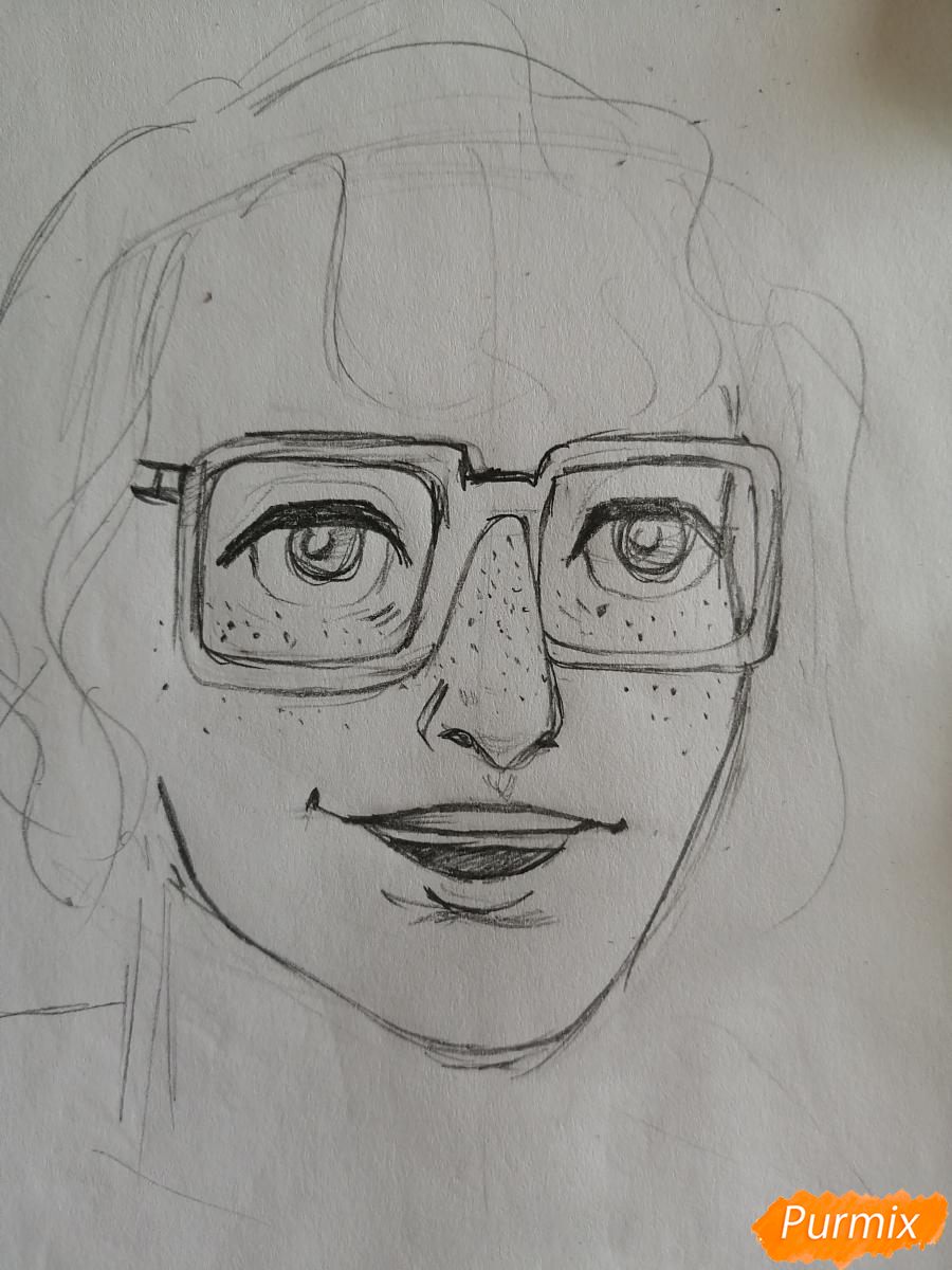 Рисуем Ричарда (Ричи) Тозиера из фильма Оно карандашами - шаг 3