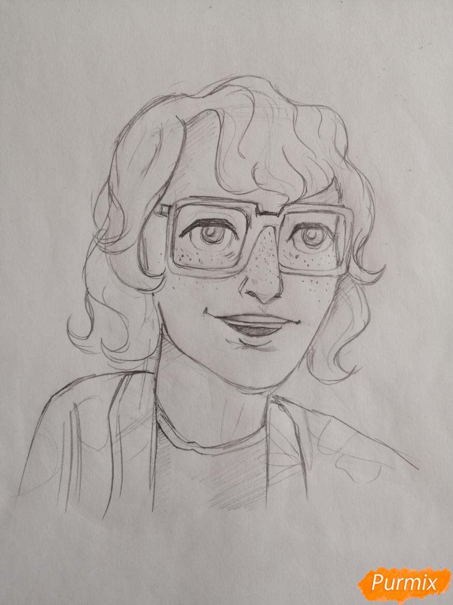 Рисуем Ричарда (Ричи) Тозиера из фильма Оно карандашами - шаг 5