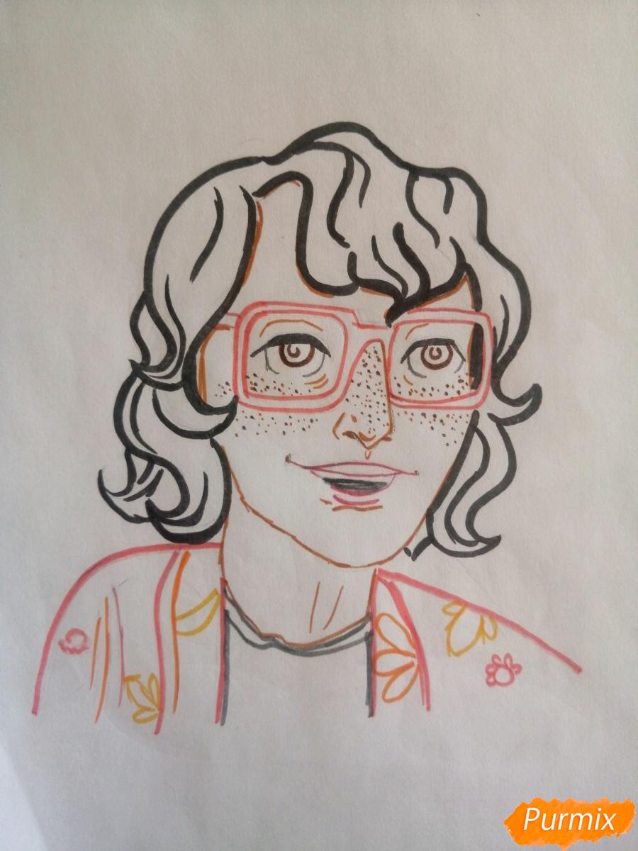 Рисуем Ричарда (Ричи) Тозиера из фильма Оно карандашами - шаг 6