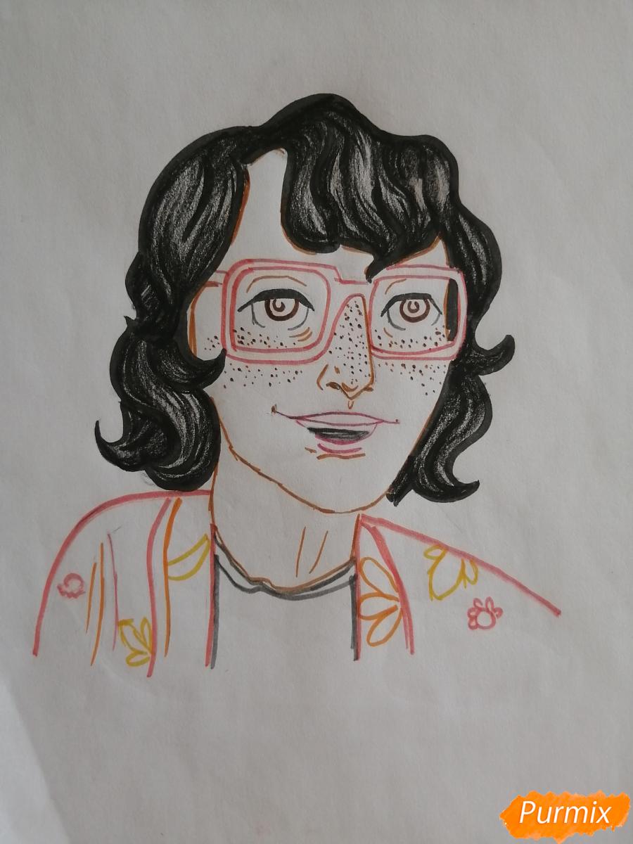 Рисуем Ричарда (Ричи) Тозиера из фильма Оно карандашами - шаг 7