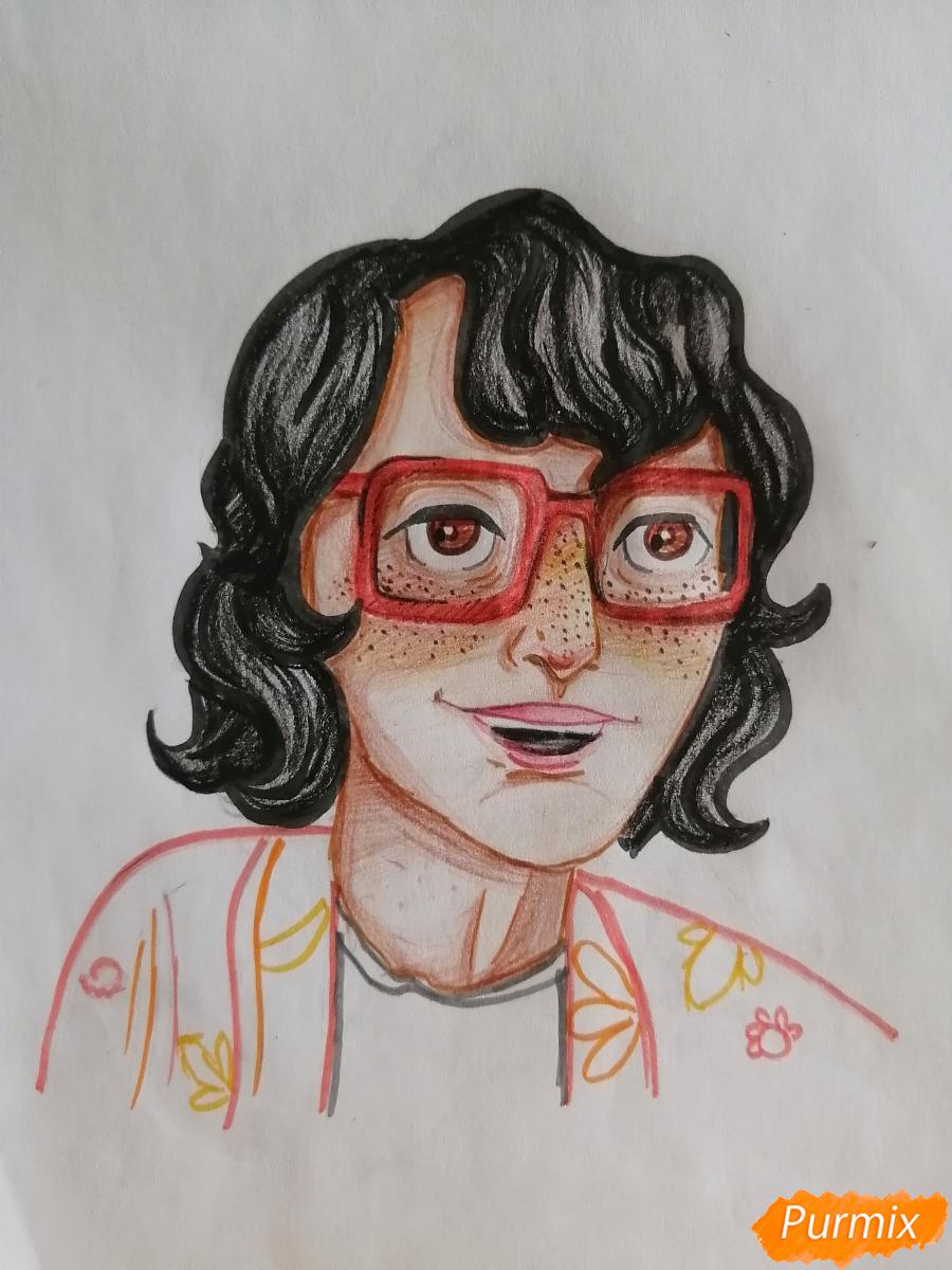 Рисуем Ричарда (Ричи) Тозиера из фильма Оно карандашами - шаг 8