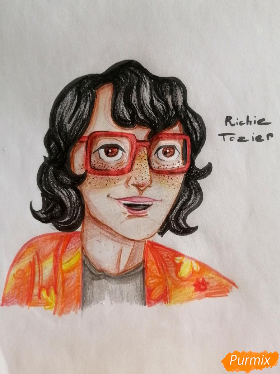 Как нарисовать Ричарда (Ричи) Тозиера из фильма Оно карандашами поэтапно