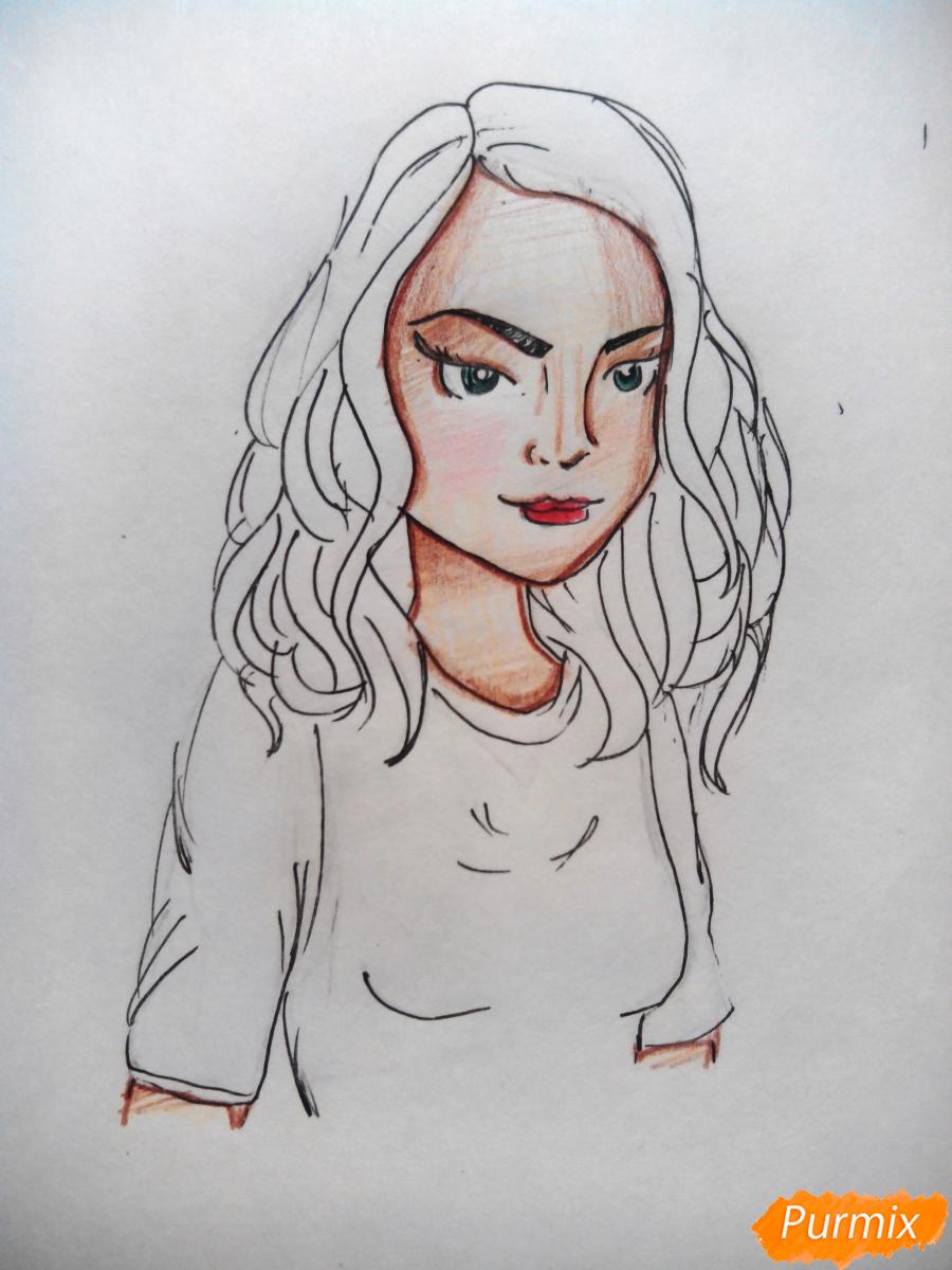 Рисуем Веронику Лодж из Ривердейл - шаг 6