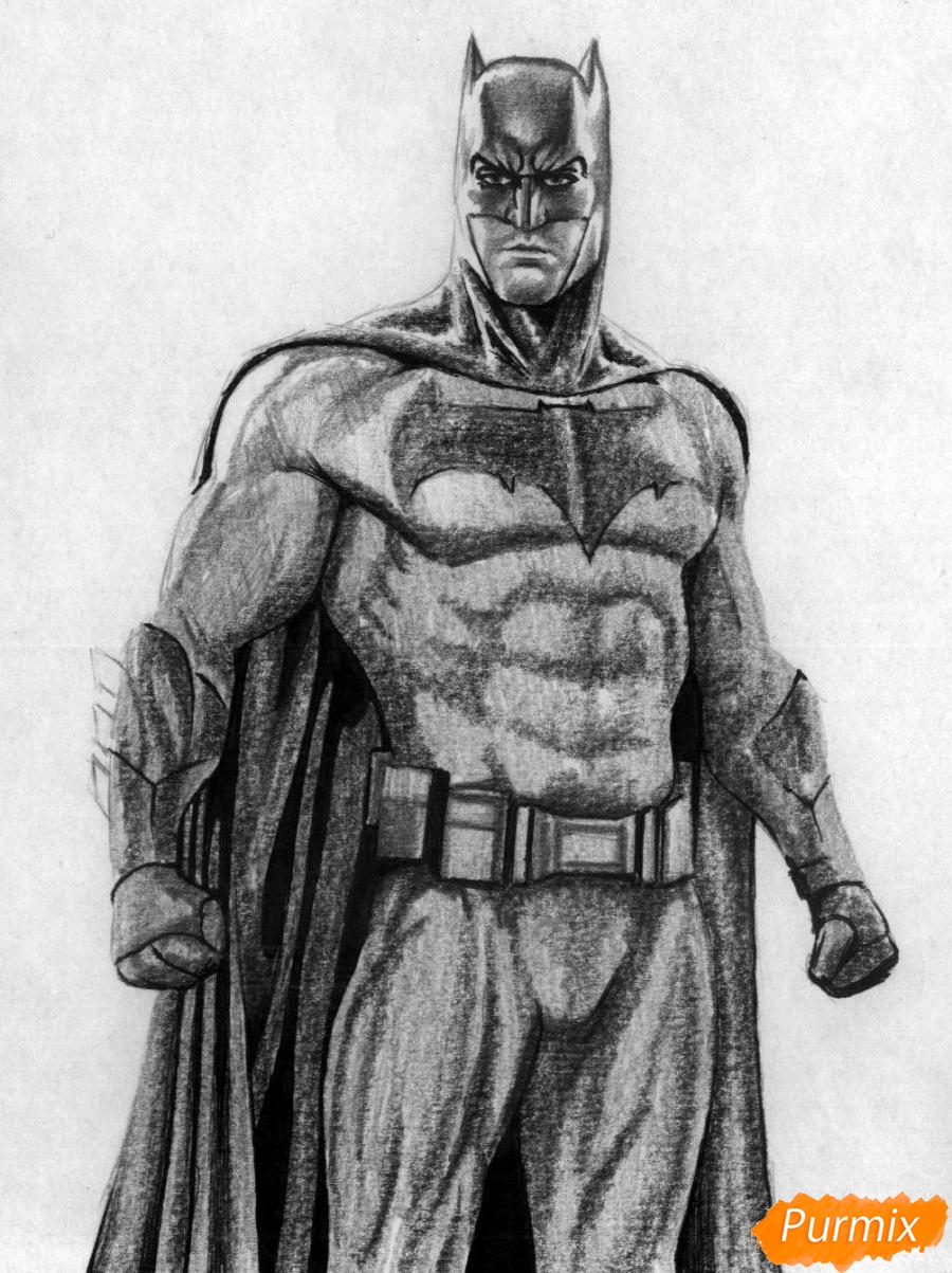 Рисуем Бэтмена из фильма Бэтмен против Супермена - шаг 4