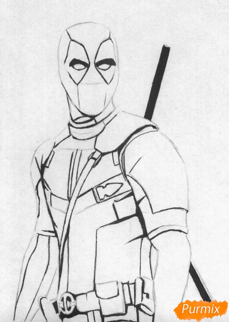 Рисуем Дэдпула карандашами или ручкой - шаг 2