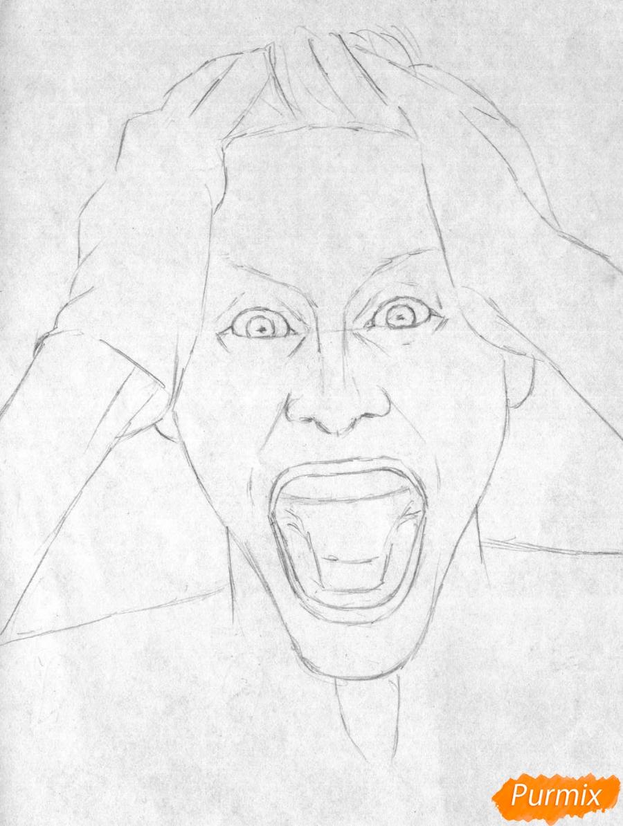 Рисуем Джокера из фильма Отряд самоубийц карандашами и ручкой - шаг 1